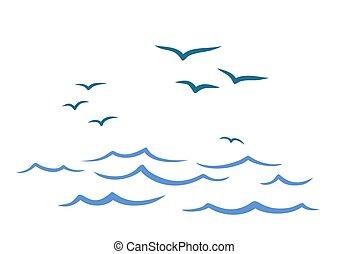 Flight birds over the ocean.