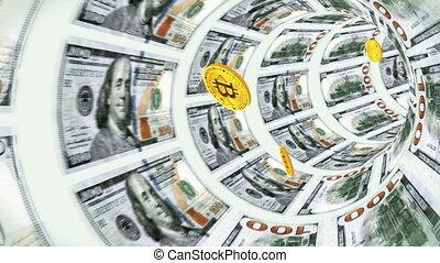 Flight bitcoins through a tunnel of dollar bills