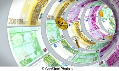 Flight bitcoins through a tunnel of euro bills