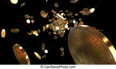 Animation shows the coins flying towards the camera. This one dollar coins is gold. Animation is looped, best suitable for all kinds of animated backgrounds on events.