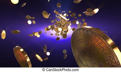 High quality flight dolar coins - loopable background