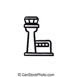 Flight control tower sketch icon. - Flight control tower...