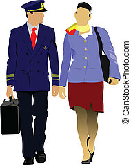 Flight crew. Cheerful pilot and stewardess with trolley,...
