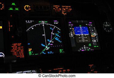 Flight deck, cockpit - Instrument panel of a modern airliner...