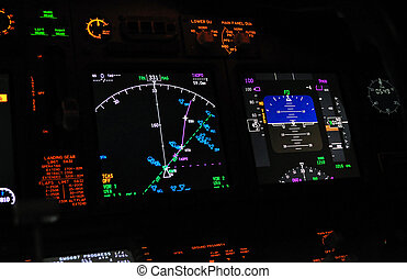 Flight deck, cockpit - Instrument panel of a modern airliner...