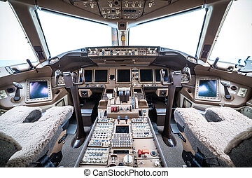 Flight deck in regular airplane