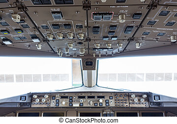 Flight deck in regular airplane.