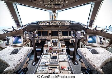 Flight deck in regular airplane