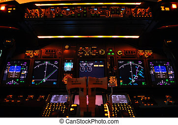 Instrument panel of a modern airliner at night (Boeing 737-800 Next Generation).