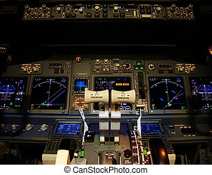 Flight deck of a modern airliner at night (Boeing 737-800 ...