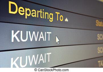 Flight departing to Kuwait - Computer screen closeup of ...