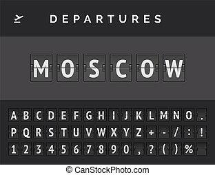 Flight departure destination in Europe Moscow. Airport flip board font . Vector illustration