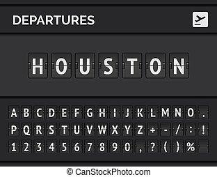 Flight departure destination in USA Houston. Airport flip board font . Vector illustration