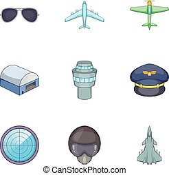 Flight elements icons set, cartoon style