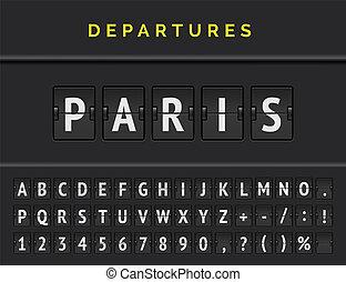 Flight flip board font displays airport departure destination in Europe Paris. Vector illustration