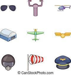 Flight icons set, cartoon style