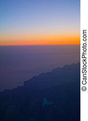 Flight image at sunrise over Tramuntana mountains Cuber reservoir