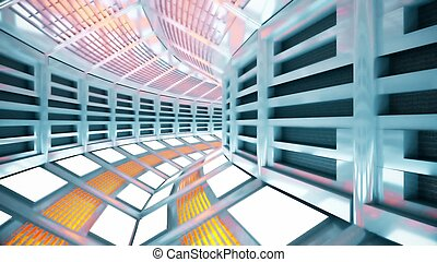 Flight in a sci-fi spaceship corridor. 3D rendering