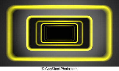 """""""Flight in abstract futuristic tunnel with yellow borders and tilting shaking camera. Seamless loop."""""""