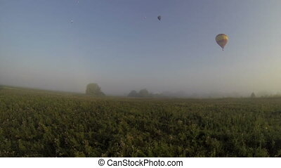 Flight in hot air balloon. View of scenery outside