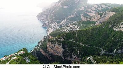 flight in mountains above amalfi coast in Italy - flight in...