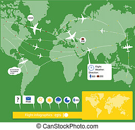Flight infographics. Civil airplanes trajectories on world...