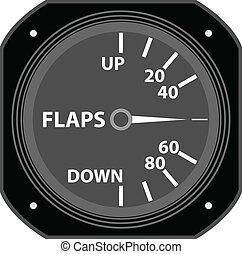 Flight instrument. - A flaps indicator.