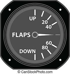 Flight instrument. - A flaps indicator.