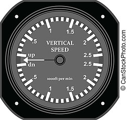 Flight instrument. - A flight vertical speed indicator.