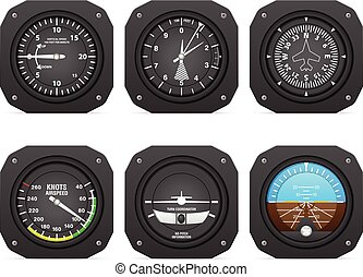 Flight instruments on a white background.