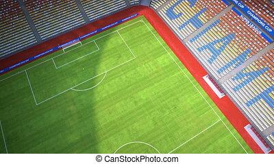 flight into empty football stadium - Camera flies into empty...