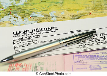 Flight itinerary concept with passport and map