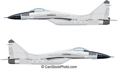 Flight Jet - White fighter Jet vector illustration in flight