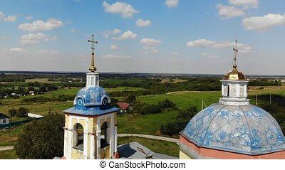 Flight near Cross of old church, Russia - Flight near the...