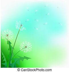 Flight of a dandelion against the blue sky
