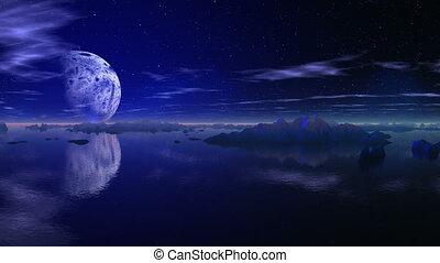 Flight of a huge planet - The huge planet flies on the dark ...