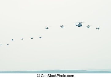 Flight of aircraft in the sky
