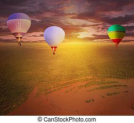 Flight of hot air balloons.