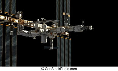 Flight Of International Space Station With Alpha Matte.