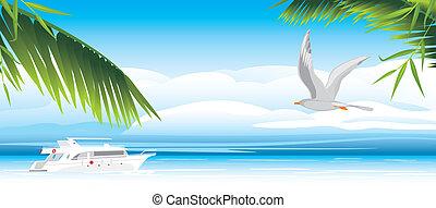 Flight of seagull over a sea