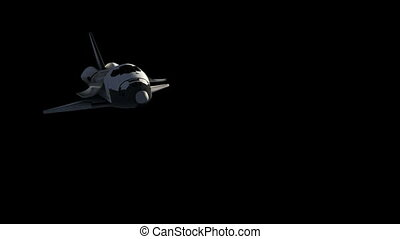 Flight Of Space Shuttle With Alpha Matte.