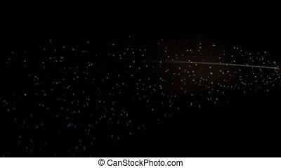 Flight of sparkling lightning on a black background HD
