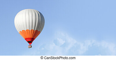 Flight of the balloon in the sky.