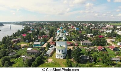 flight of the camera over the ancient Orthodox Church. The...