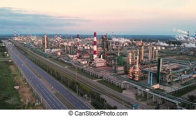 Oil refinery plant industry, Refinery factory, oil storage...