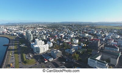 Flight of the drone over the family Reykjavik, Iceland