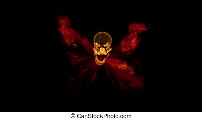 Flight of the flame of fire from the mouth of a skull on a black background HD 1080