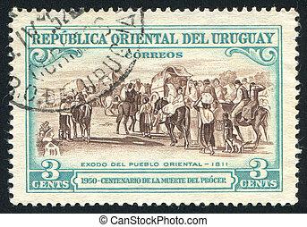Flight of the People - URUGUAY - CIRCA 1952: stamp printed...