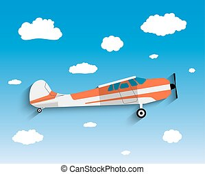 Flight of the plane in sky.