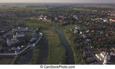 Flight on the drone over the Suzdal monasteries. Vladimir region